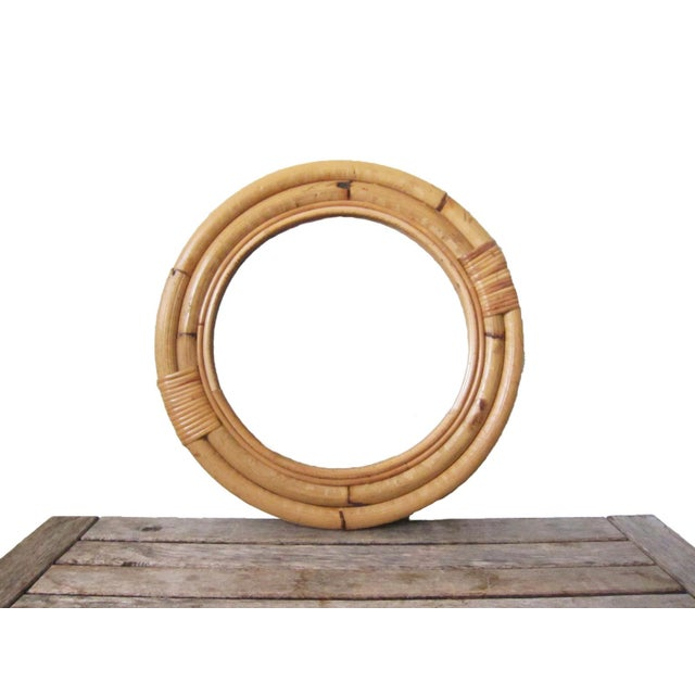 Gold 1970s Vintage Bamboo Circle Rattan Wall Mirror For Sale - Image 8 of 8