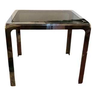 1970s Hollywood Regency Nickel Plated Steel Table With Smoked Glass Insert Top For Sale