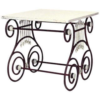 Outdoor Continental Lyre Marble Top Center Table For Sale