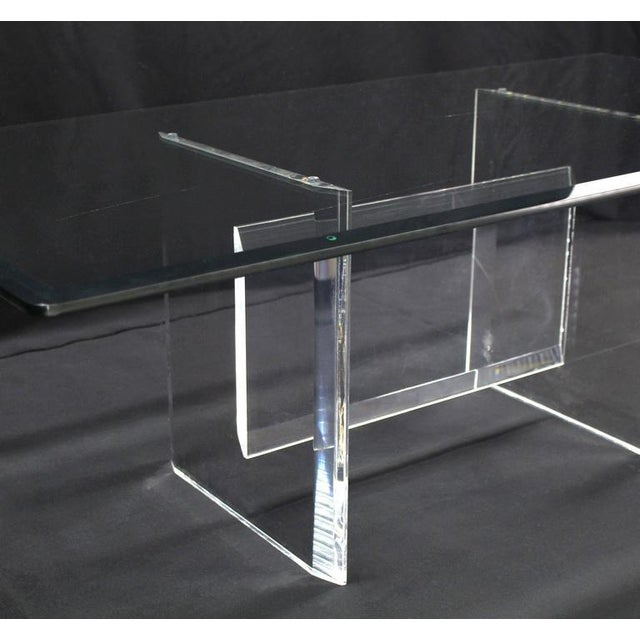 Lucite Base Glass Top Rectangular Coffee Table For Sale - Image 4 of 7