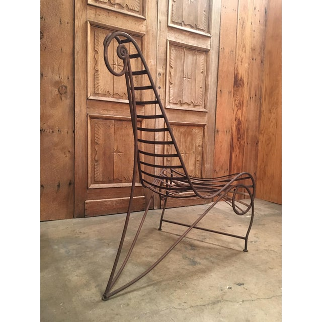 Vintage Mid Century Andre Dubreuil Style Iron Spine Chair For Sale - Image 9 of 11