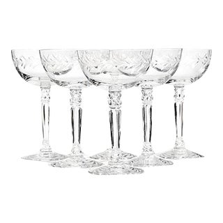 1960s Fostoria Laurel Etched Coupes, Set of 6 For Sale