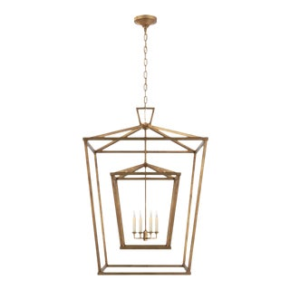 Darlana Extra Large Double Cage Lantern in Gilded Iron For Sale