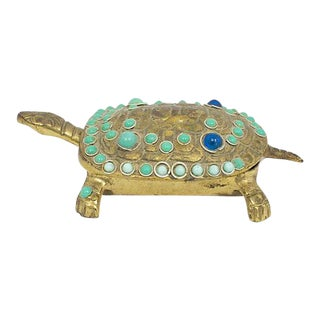 Brass Cabochon Turtle Box