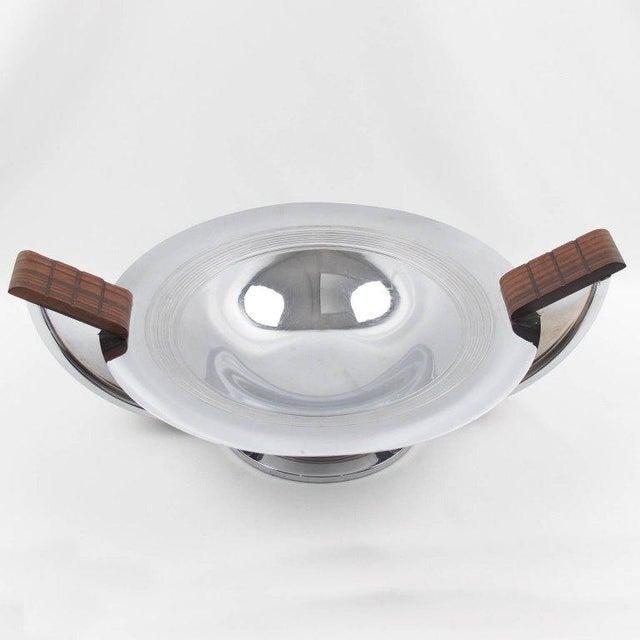 French Massabova Art Deco Chrome Macassar Centerpiece Bowl - Image 3 of 11