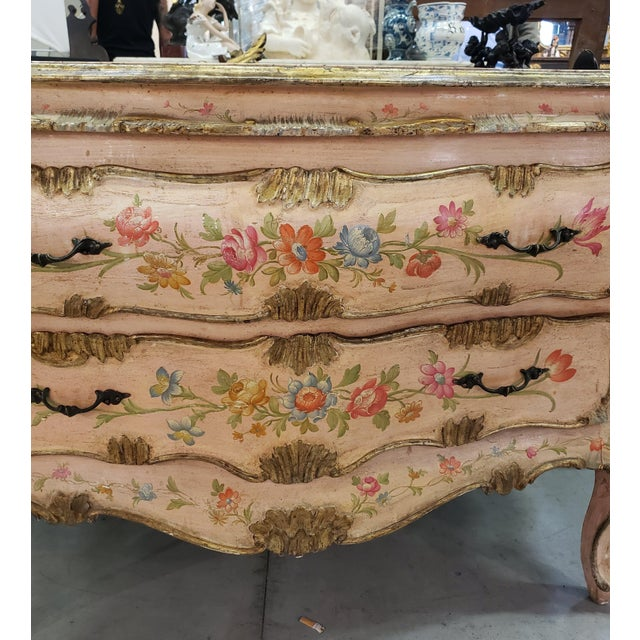 Venetian Rococo Commode Circa 1900. Venezia Floral painted patina with marble top. Item arriving to U.S. in December 2018.