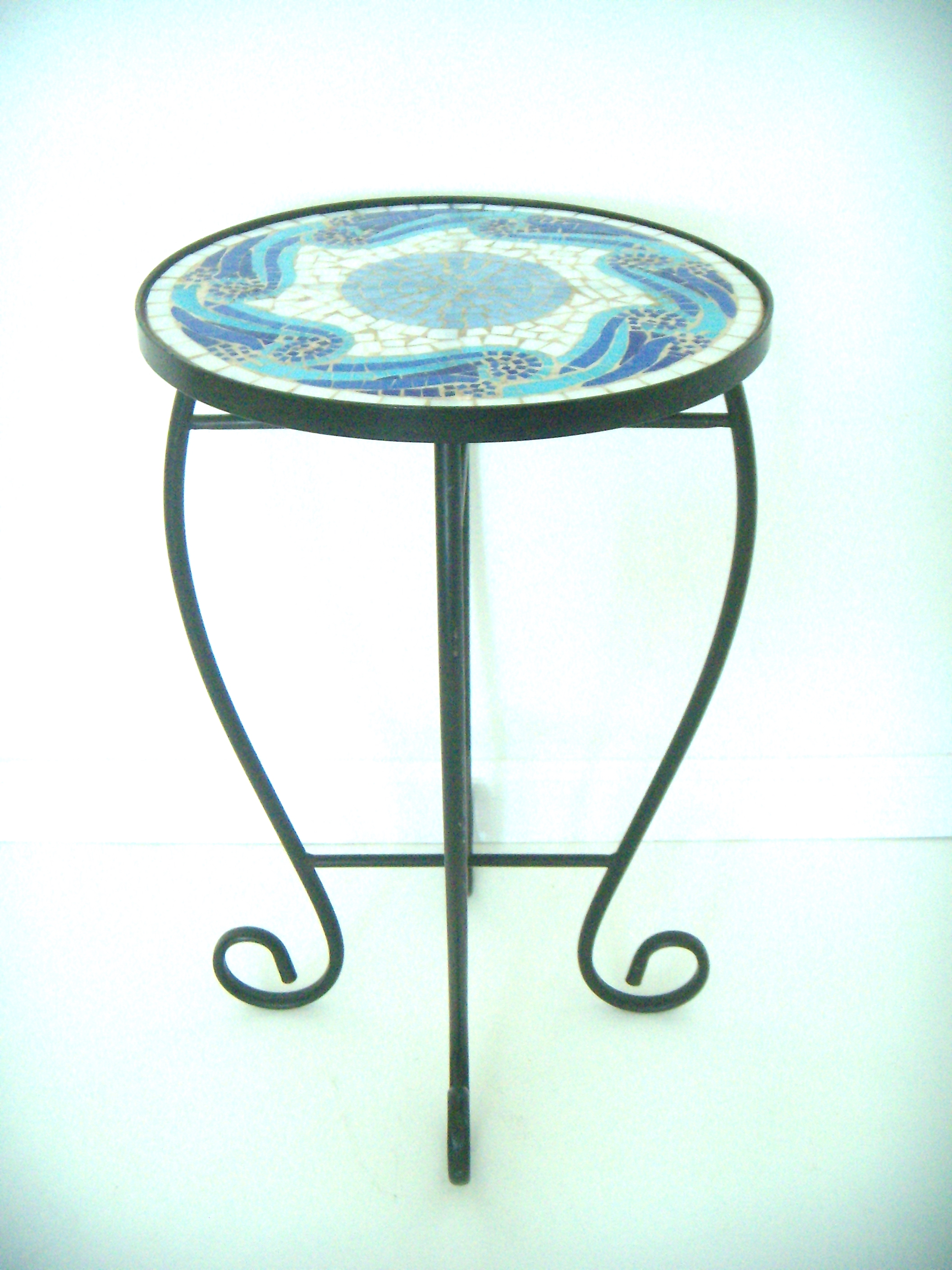 Beau Black Wrought Iron Side Table W/Blue Mosaic Top   Image 2 Of 4