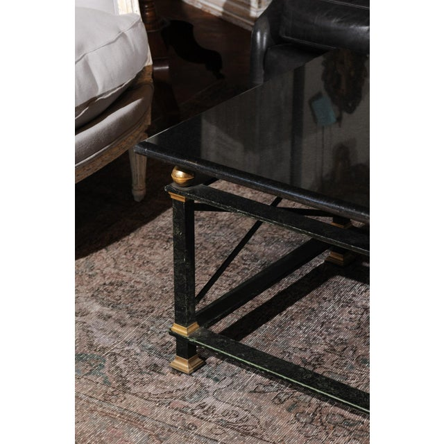 French Parisian Coffee Table with Black Marble Top, Iron Base and Brass Accents For Sale In Atlanta - Image 6 of 12