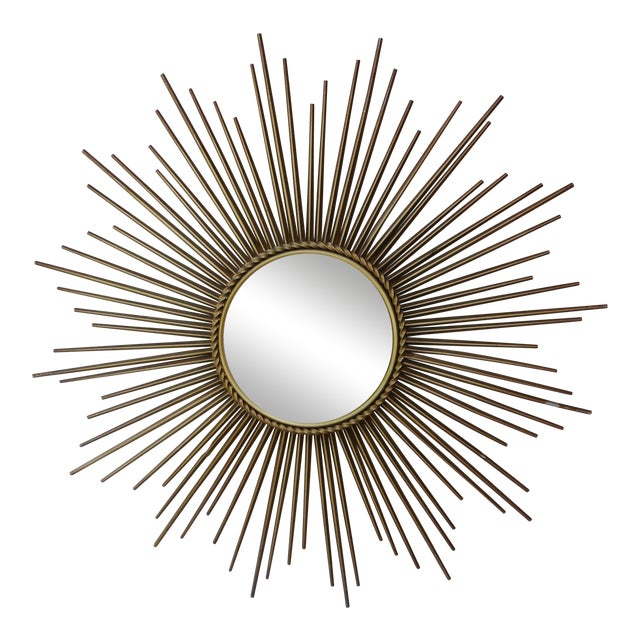 Chaty Vallauris Sunburst Convex Metal Mirror - Image 1 of 4