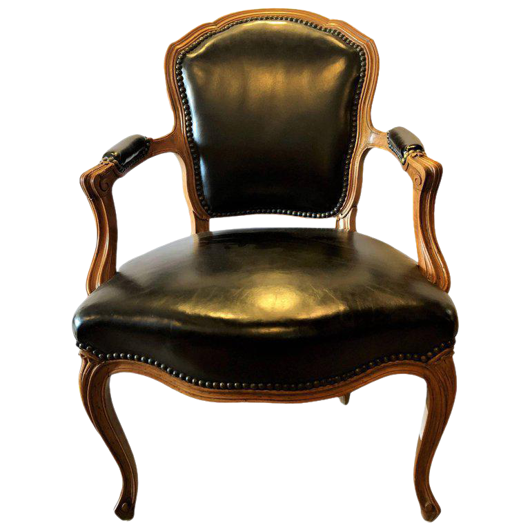 Fine Louis XV Style Walnut Fauteuil Arm or fice Chair Black