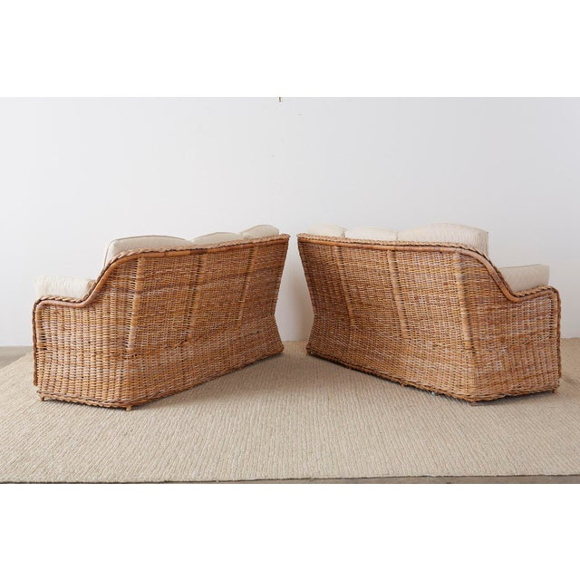 Pair of Organic Modern McGuire Style Rattan Wicker Sofas For Sale - Image 12 of 13