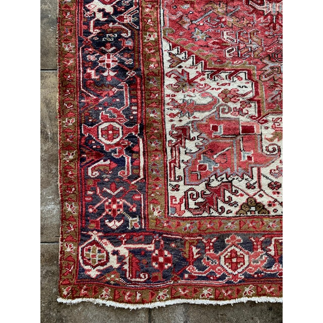 "Traditional 1940s Persian Heriz Rug 11' 10"" X 7'4"" For Sale - Image 3 of 9"