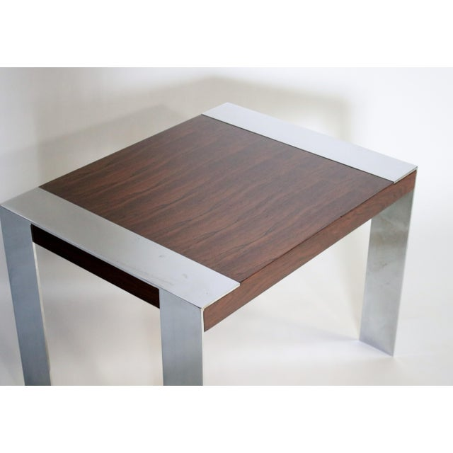 Chrome 1970s Milo Baughman Rosewood and Chrome Side Table For Sale - Image 7 of 8