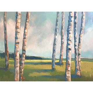 "Carrie Megan ""Five Birches Plus Three"" Landscape Oil Painting For Sale"