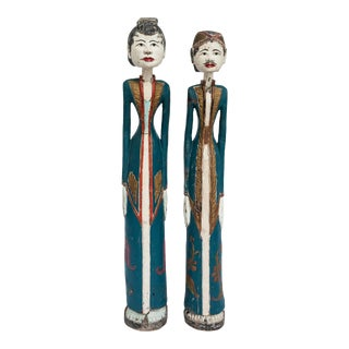 Large Handpainted Wood Balinese Figures - a Pair For Sale