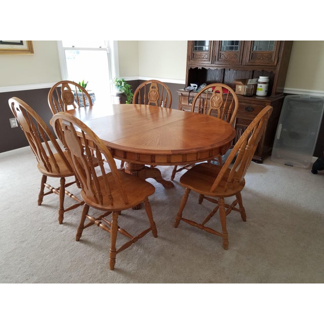 1990s Country Honey Oak Clawfoot Dining Set - 7 Pieces For Sale - Image 9 of 9