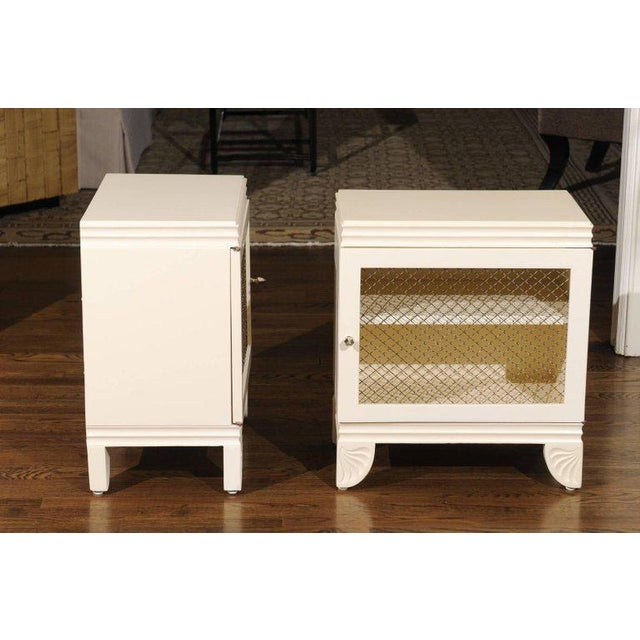 Gorgeous Restored Pair of End Tables by Widdicomb in Cream Lacquer, Circa 1938 For Sale - Image 9 of 11