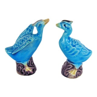 Vintage Turquoise Glazed Chinese Duck Figurines - A Pair