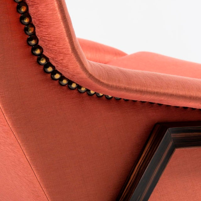 Orange Silk Upholstered Armchair For Sale - Image 4 of 13