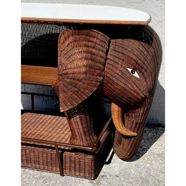 1960s Chinese Export Wicker Elephant Dry Bar For Sale - Image 10 of 13