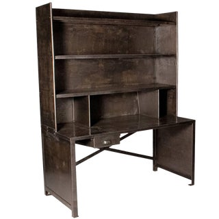 A Large Bibliotech Desk in Metal With Shelves For Sale
