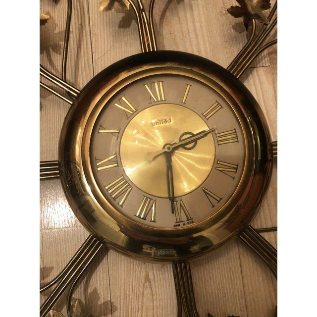Vintage Brass United Starburst Leaf Wall Clock For Sale In Charleston - Image 6 of 10