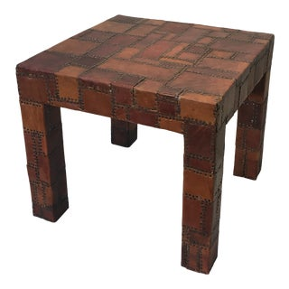 Saddle Leather Patchwork Occasional Table For Sale