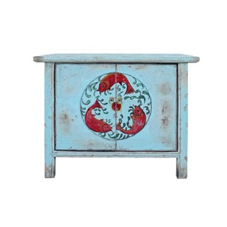 Chinese Distressed Light Pale Blue Fishes Graphic Table Cabinet