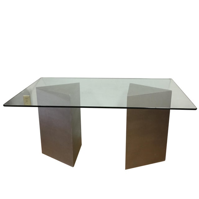 Geometric Silver & Glass Top Modern Dining Table - Image 1 of 8