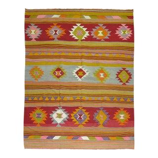 Bright Turkish Kilim, 5'6'' x 8' For Sale