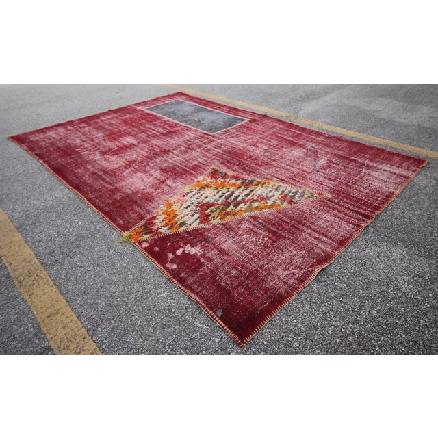 Vintage Turkish Overdyed Patchwork Oushak Distressed Rug - 6′9″ × 10′ For Sale - Image 4 of 6