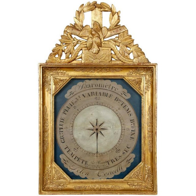 19th Century French Barometer in Giltwood Frame For Sale - Image 4 of 4