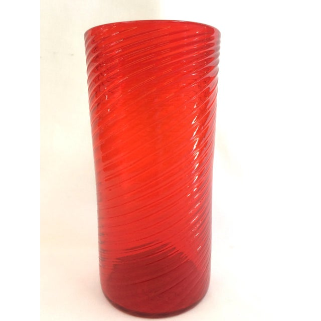 Tall Red Orange Hand Blown Glass Vase - Image 2 of 5