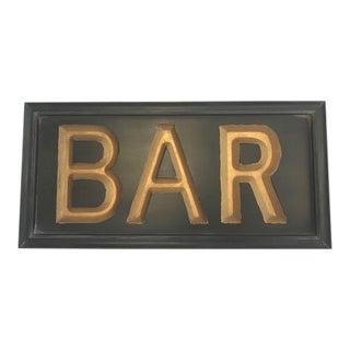 Vintage Wooden Black and Gold Bar Sign