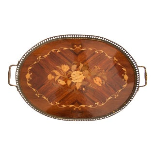 English Edwardian Mahogany & Brass Serving Tray For Sale
