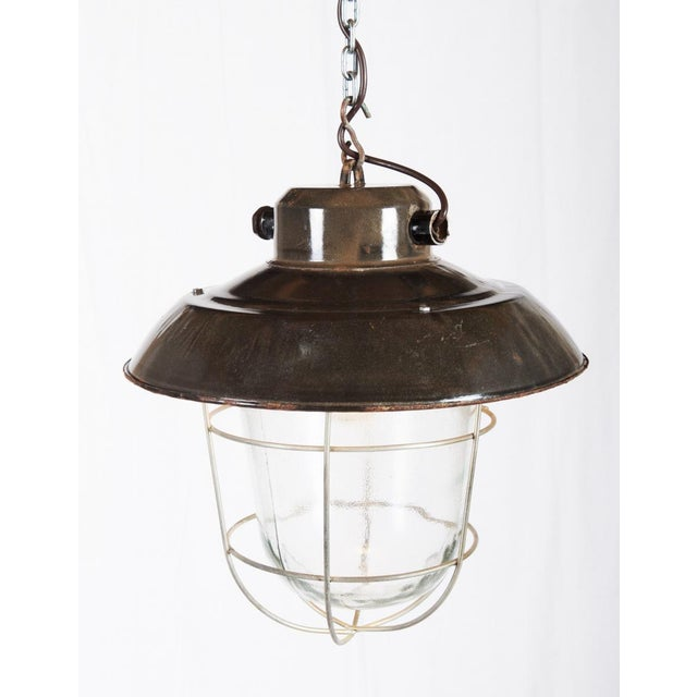 1970s Industrial vintage factory hanging lamp For Sale - Image 5 of 9