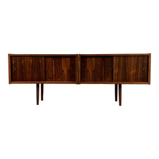 Peter Sorenson Double Low Rosewood Credenza, Denmark 1950s For Sale