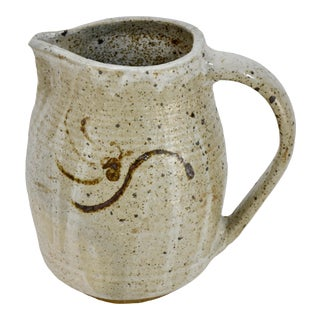 Gray Ribbed Studio Art Pottery Pitcher For Sale