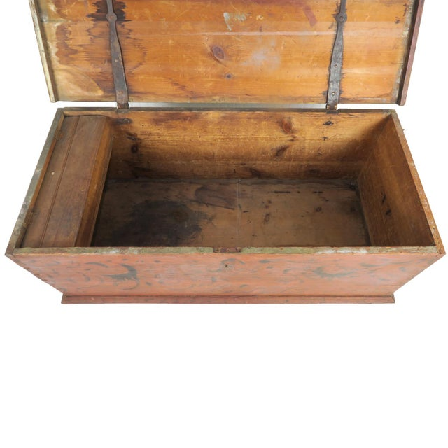Early 19th Century Antique Primitive Red Paint Trunk For Sale - Image 10 of 13