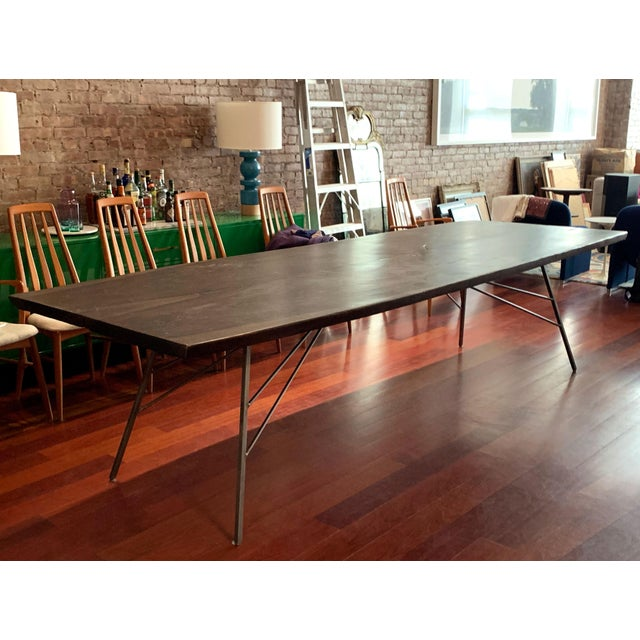 ABC Carpet & Home Industrial Viento Ray Dark Steel and Reclaimed Wood Dining Table For Sale - Image 4 of 13