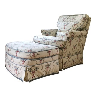 1980s Vintage Pierre Frey Fabric Custom Chair & Ottoman - 2 Pieces For Sale