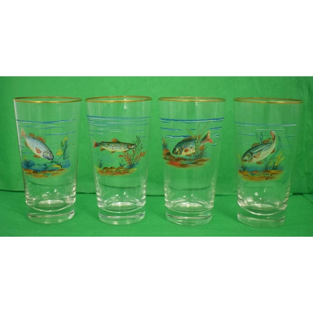 Vintage Mid-Century Hand-Painted 'Fish' High-Ball Glasses - Set of 4 For Sale In New York - Image 6 of 6