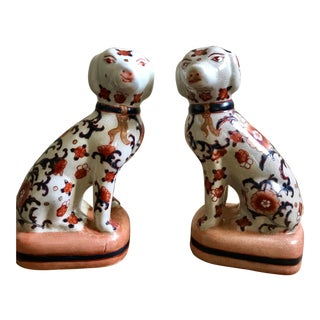 Chinese Porcelain Dog Figurines - a Pair For Sale