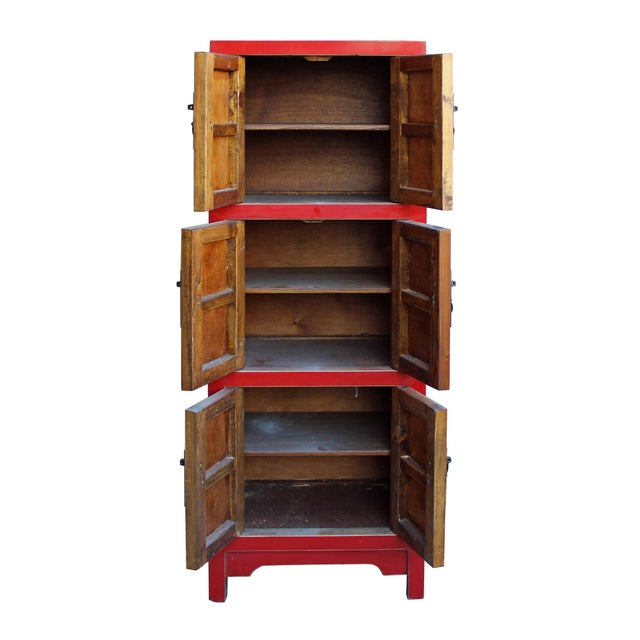 Chinese Red Lacquer Narrow Mid Size 3 Shelves Storage Cabinet - Image 4 of 5
