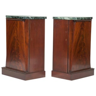 American Empire Mahogany Veneer Side Cabinets - a Pair For Sale