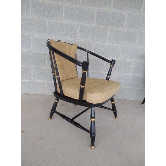 English Traditional Rousseau Bros. Barrel Back Spindle Black Painted Club Chairs-A Pair For Sale - Image 3 of 11