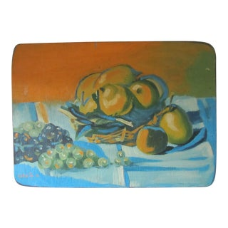 1970s Vintage Still-life Painting on Board For Sale