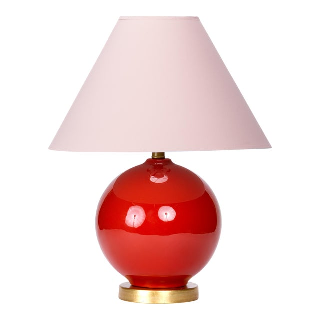 Casa Cosima Sphere Table Lamp, Persimmon/Pink Shade For Sale