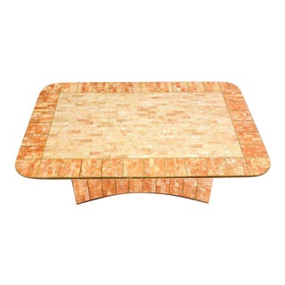 Maitland-Smith Tessellated Stone and Brass Mid-Century Modern Coffee Table For Sale