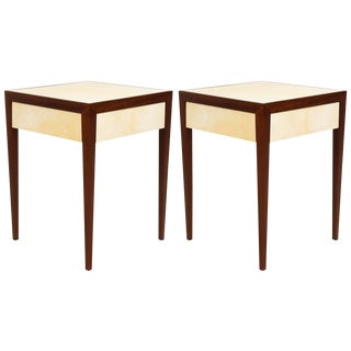 Custom Parchment End Tables With Pull-Out Drawers - a Pair For Sale